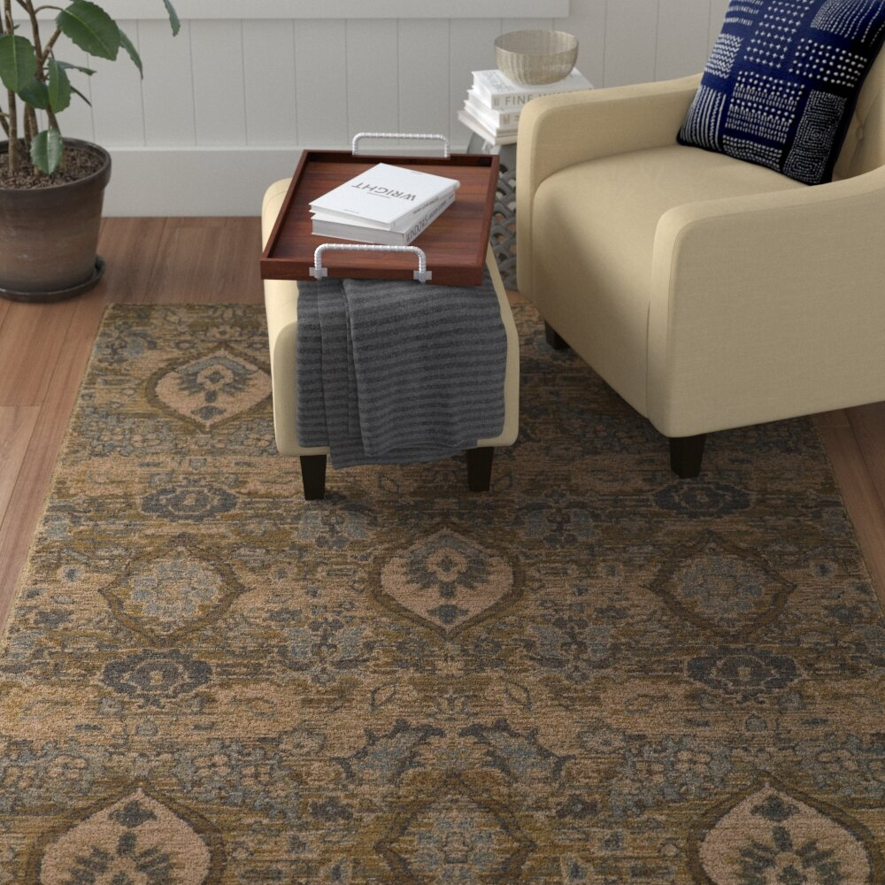 Red Barrel Studio Tackett Power Loom Wool Brown Beige Rug Wayfair