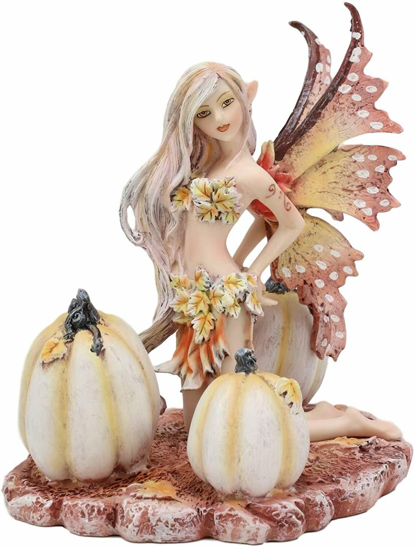 August Grove Ebros Amy Brown Autumn Maple Elf Fairy With White Pumpkins Statue 5 Long Fantasy Mythical Faery Magic Watercolor Collectible Decor Figurine For Women Girls Faery Garden Diy Art Centerpiece Wayfair