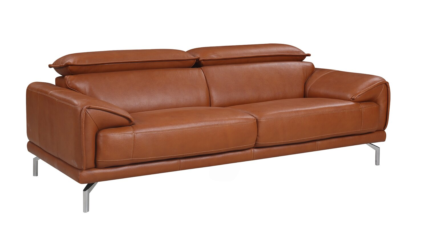 Ordinaire Tawny Mid Century Modern Top Grain Leather Sofa