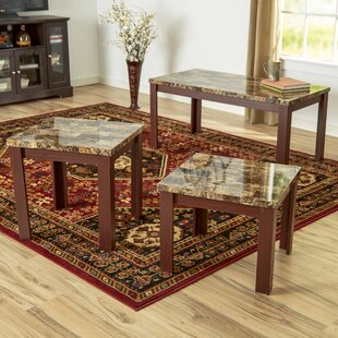 Cecil Marble Top 3 Piece Coffee Table Set Andover Mills