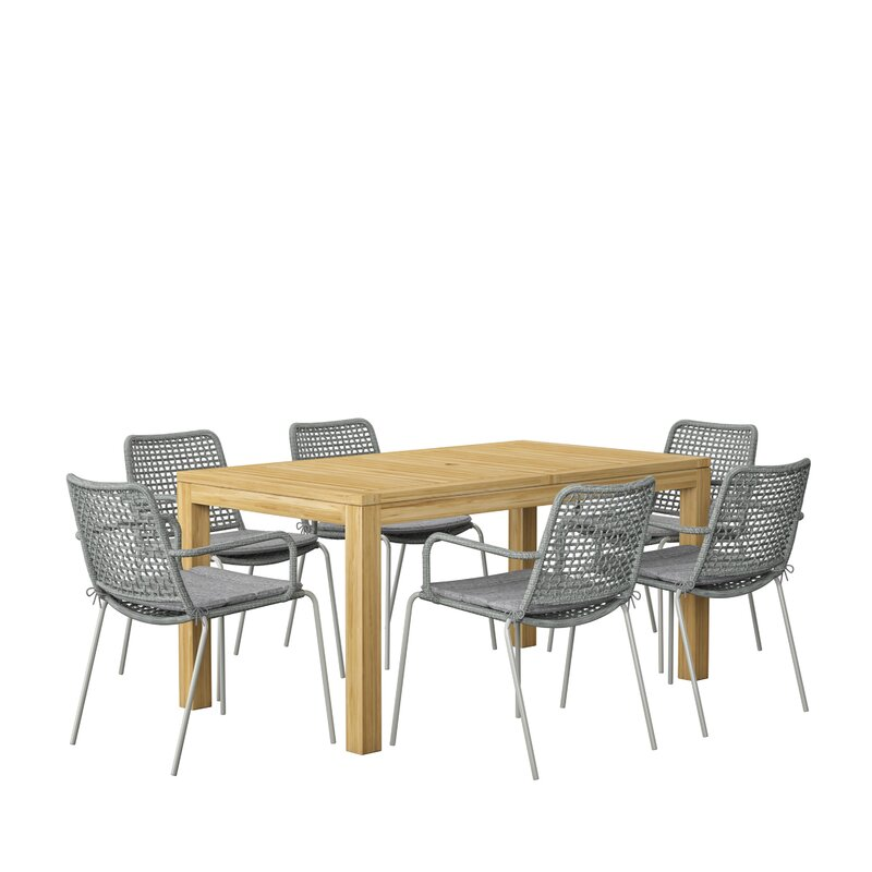 7 Piece Teak Dining Set With Cushions Allmodern