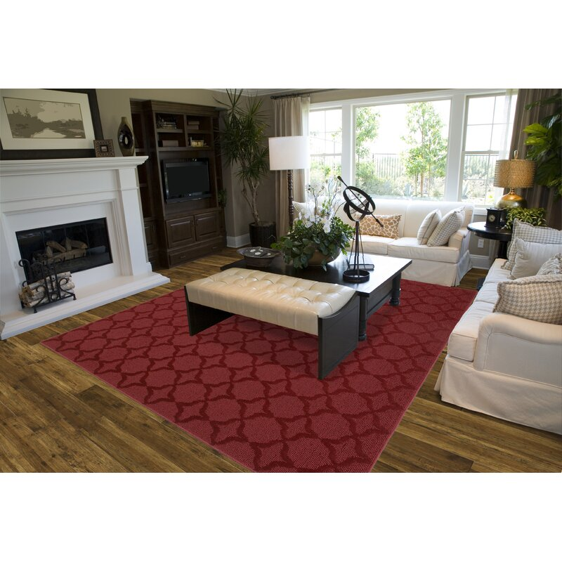 Charlton Home Southington Geometric Tufted Red Area Rug Reviews Wayfair Ca