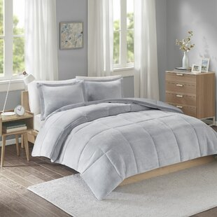 Brousseau Frosted Print Plush to Heathered Microfiber Reversible Comforter Set