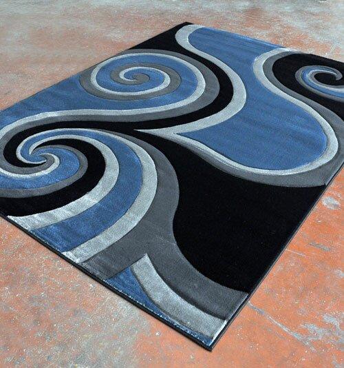 Rug Tycoon Power Loom Light Blue Black Rug Wayfair