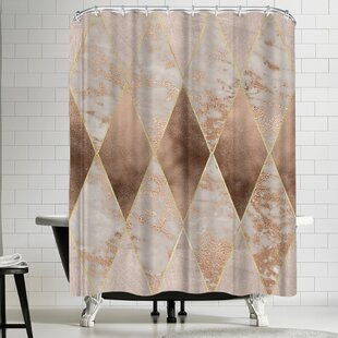 Read Reviews Grab My Art Trendy Rose Gold Marble Copper Rectangle Shower Curtain ByEast Urban Home