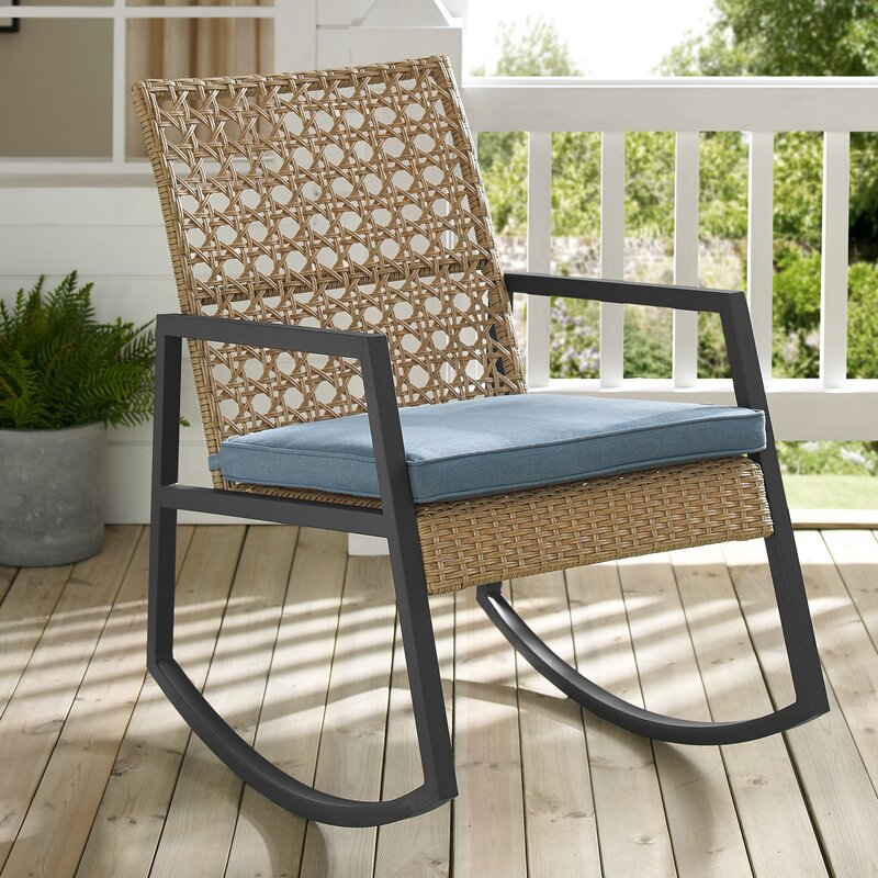 Light Brown/Blue Shifflett Modern Patio Rocking Chair With Cushion by Ivy Bronx