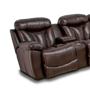 Latitude Run Brook Wescott Leather Reversible Reclining Sectional