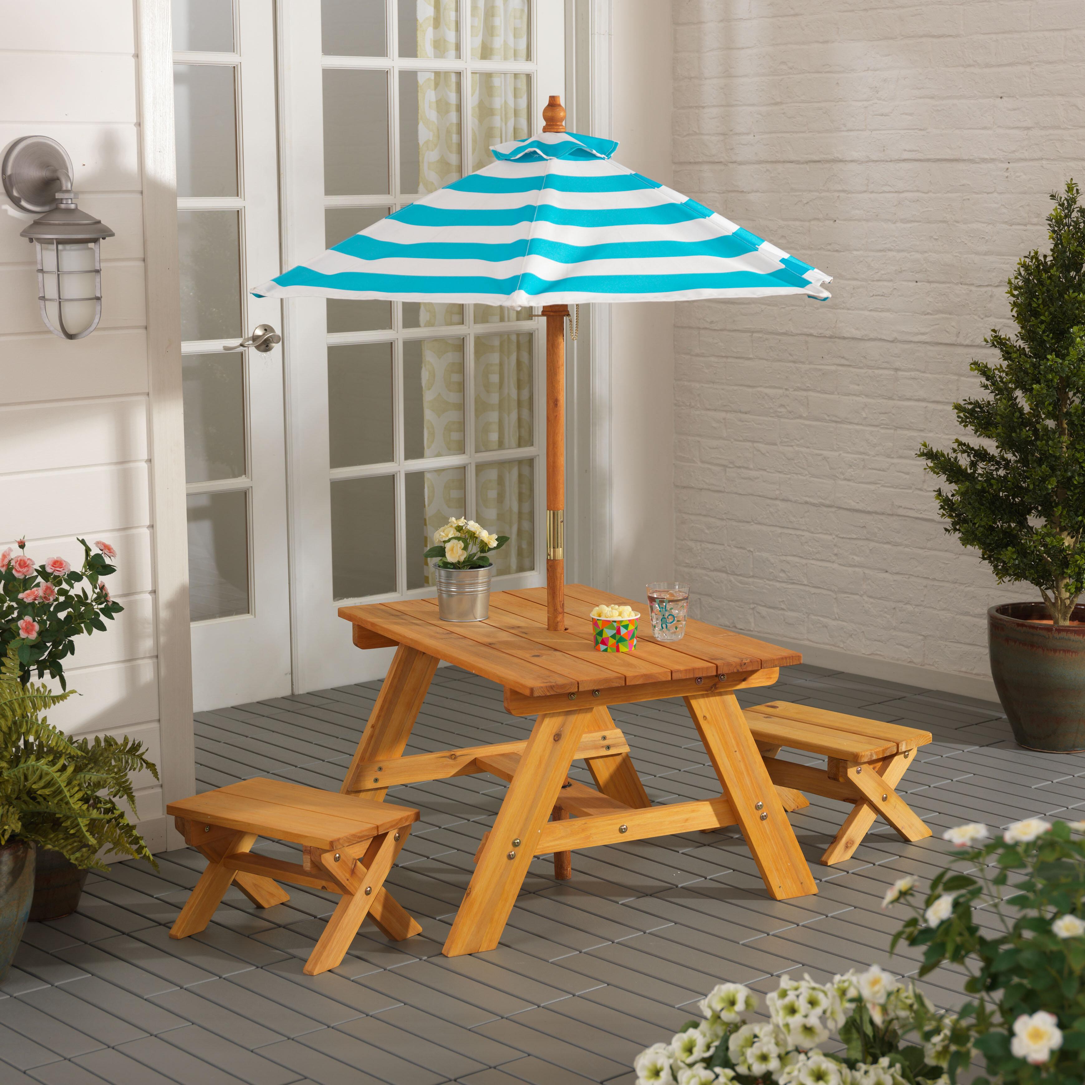 KidKraft Outdoor Kidsu0027 4 Piece Picnic Table Set With Umbrella U0026 Reviews |  Wayfair