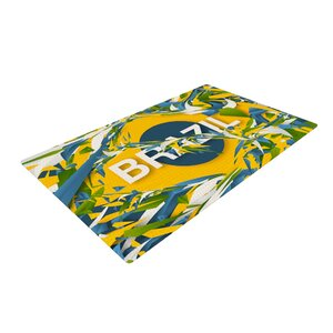 Danny Ivan Brazil World Cup Yellow/Blue Area Rug