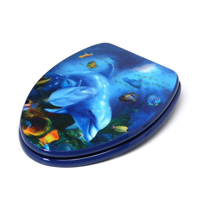 Astonishing 3D Ocean Series Dolphin Mother And Calf Elongated Toilet Seat Ibusinesslaw Wood Chair Design Ideas Ibusinesslaworg