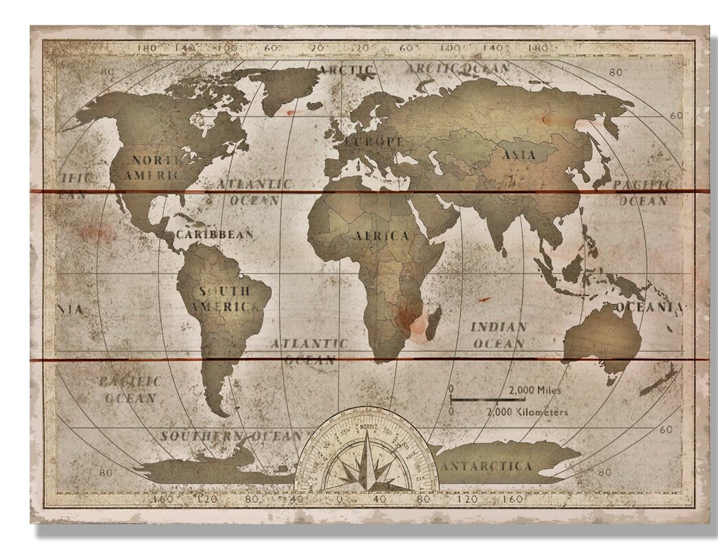 Daydream hq old world map graphic art on wood reviews wayfair old world map graphic art on wood gumiabroncs Gallery