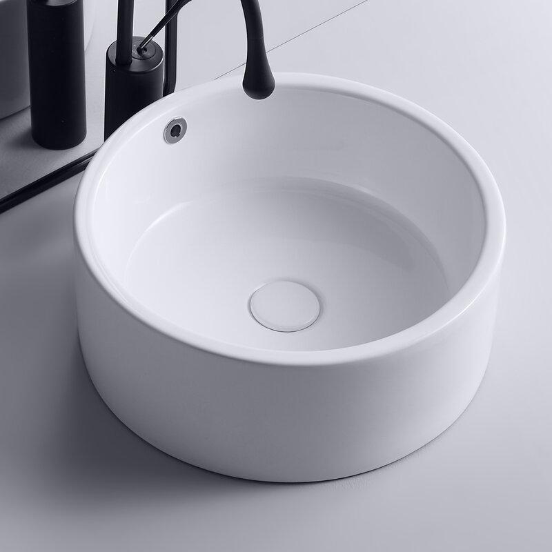 Dimi White Ceramic Circular Vessel Bathroom Sink With Overflow Wayfair