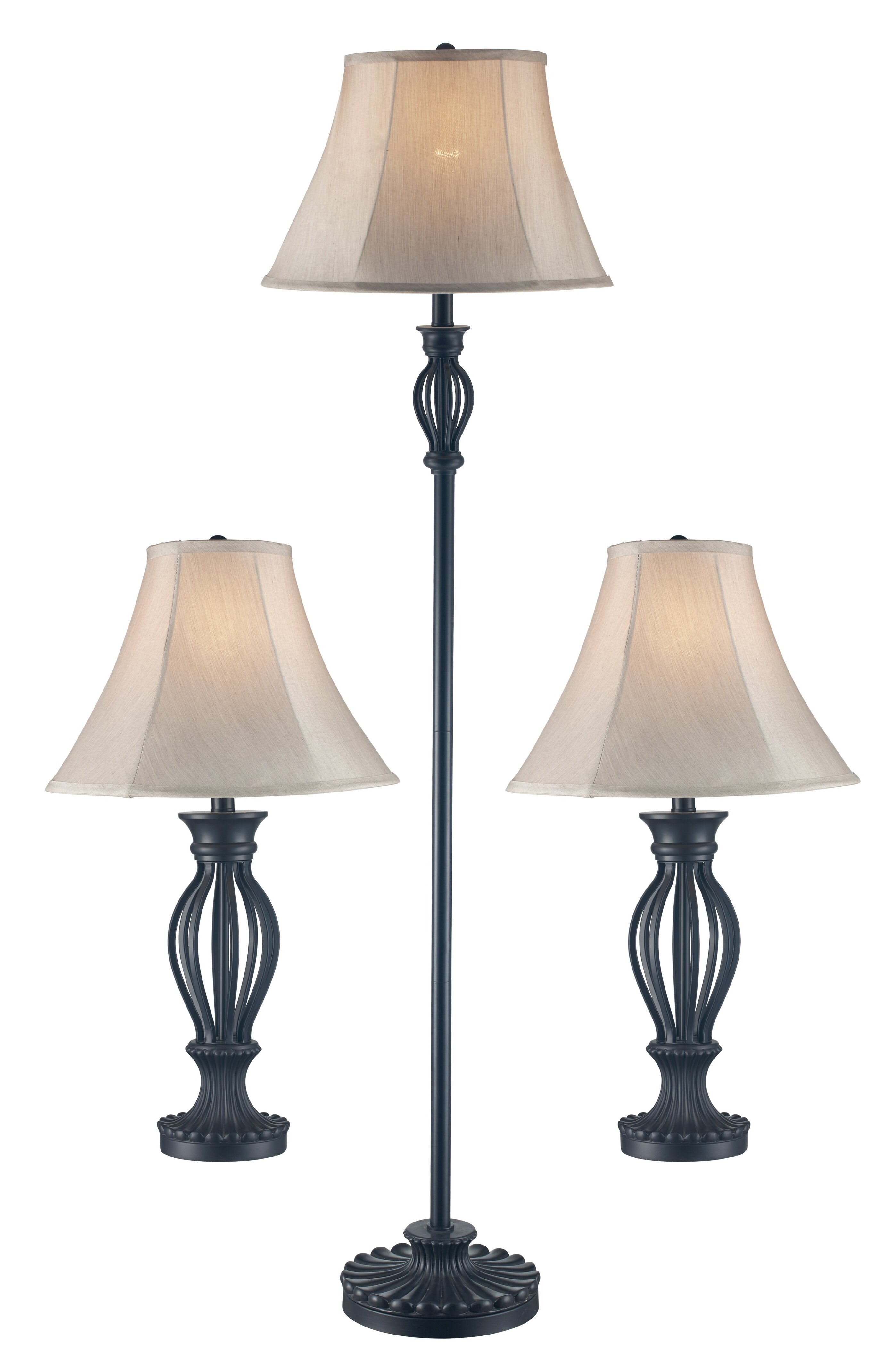 Gambier 3 Piece Table And Floor Lamp Set