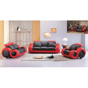Hokku Designs Hematite Reclining Leather Configurable Living Room Set