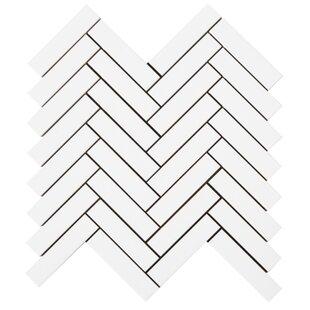 Herringbone 1'' x 4'' Glass Mosaic Tile in White