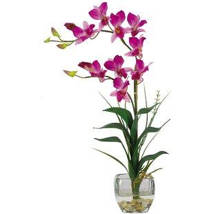 Silk flowers in glass vase wayfair silk dendobrium flowers with glass vase in purple mightylinksfo
