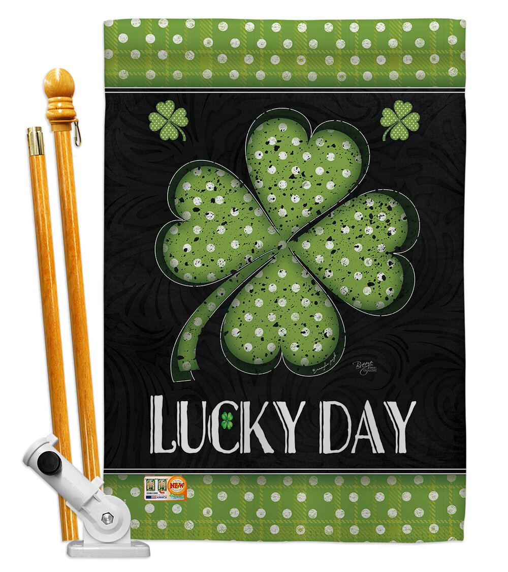 Breeze Decor Lucky Day Clover Spring St Patrick 2 Sided Polyester 40 X 28 In Flag Set Wayfair