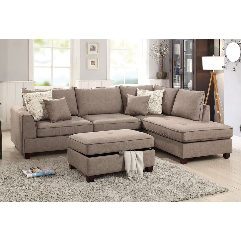 Laurel Foundry Modern Farmhouse Malta Reversible Sectional & Reviews on
