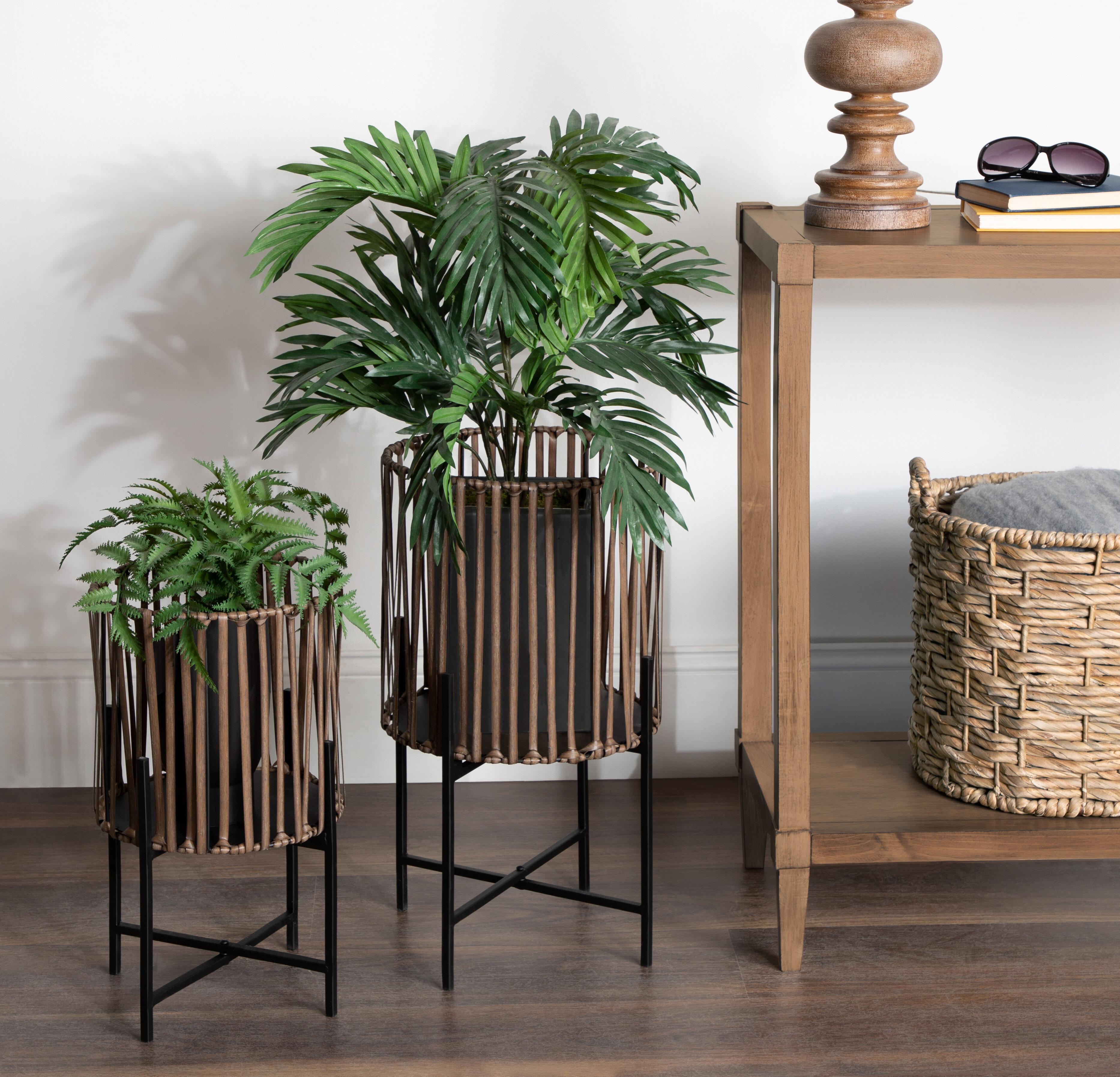 Allmodern Jakobe Floor 2 Piece Pot Planter Set With Pvc Wicker And Metal Stands Reviews Wayfair Ca