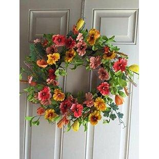 Pansy Silk Wreath With Door Hanger