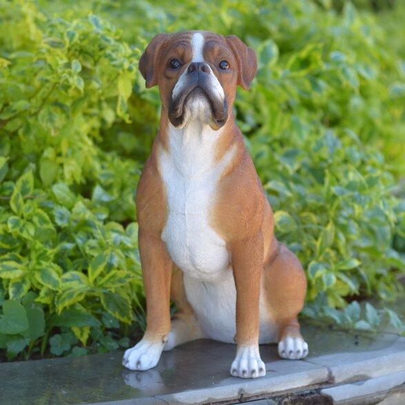 Captivating Sitting Boxer Dog Statue