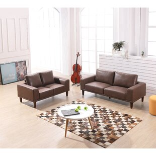 Wheatley Modern Luxurious 2 Piece Leather Living Room Set by George Oliver