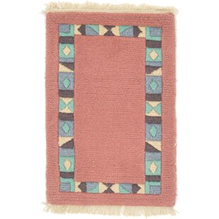 Read Reviews One-of-a-Kind Dorcaster Hand-Knotted 1'3 x 1'11 Wool Salmon Area Rug By Isabelline
