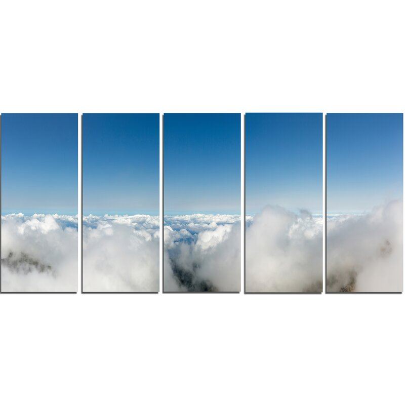 Designart Bright Blue Sky Above Clouds 5 Piece Wall Art On Wrapped Canvas Set Wayfair