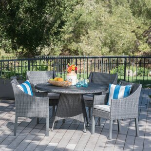 Ivy Bronx Arevalo Outdoor Wicker 5 Piece Dining Set with Cushions