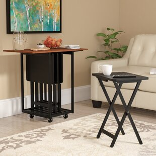 Dziedzic Drop Leaf Table with TV Tray Table Set by Red Barrel Studio