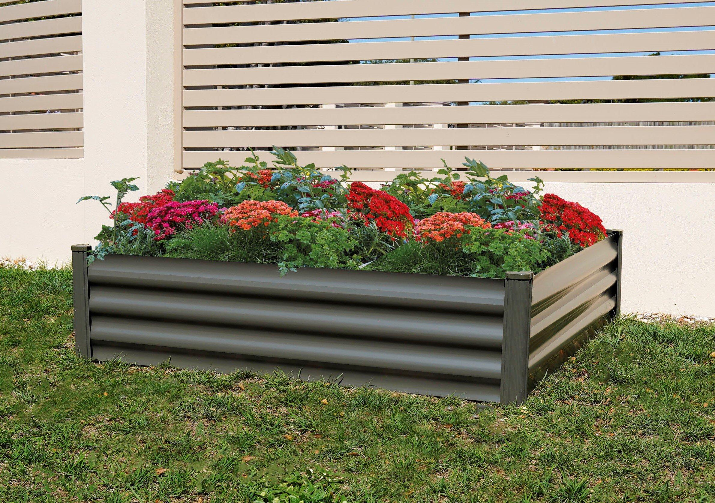 Picture of: Freeport Park Dellinger 4 Ft X 4 Ft Metal Raised Garden Wayfair