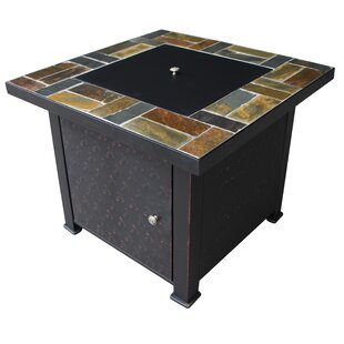 Rustic Tile Steel Wood Burning Gas Fire Pit Table by Leigh Country Design