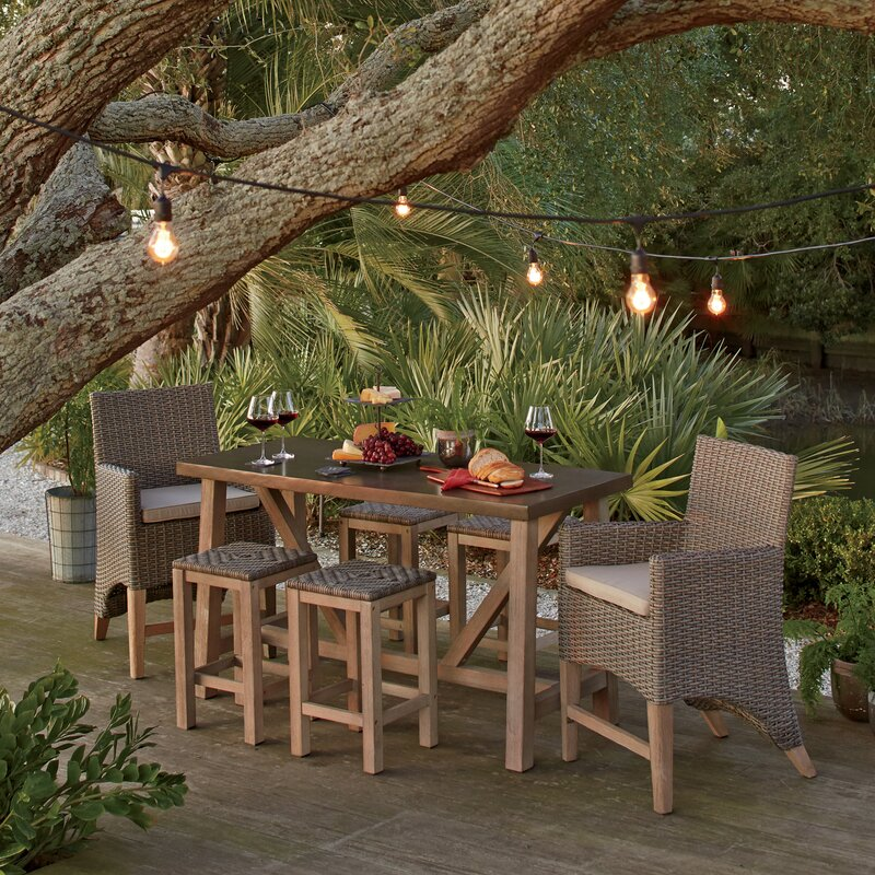 Captivating Monterey 7 Piece Teak Bar Height Dining Set With Sunbrella Cushions