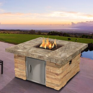 Cal Flame Cultured Stone Dining Steel Propane Fire Pit Table