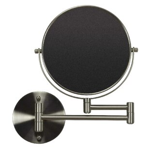 Latitude Run Transitional Round Brass Wall Mount Magnifying Shaving Mirror