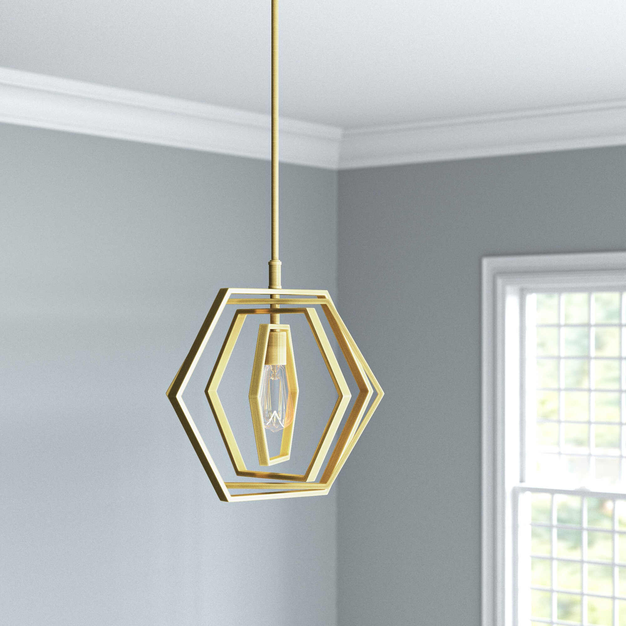 Mercer41 Vandemark 1 Light Single Geometric Pendant Reviews Wayfair