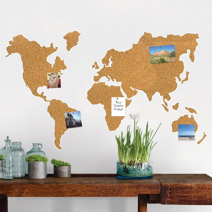 Wallpops cork map wall mounted bulletin board reviews wayfair cork map wall mounted bulletin board gumiabroncs Choice Image