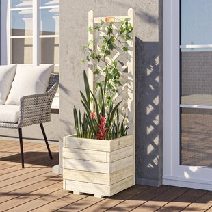 Wooden Planter Box With Trellis By Freeport Park