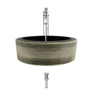 Artisan Ceramic Circular Vessel Bathroom Sink with Faucet By MR Direct