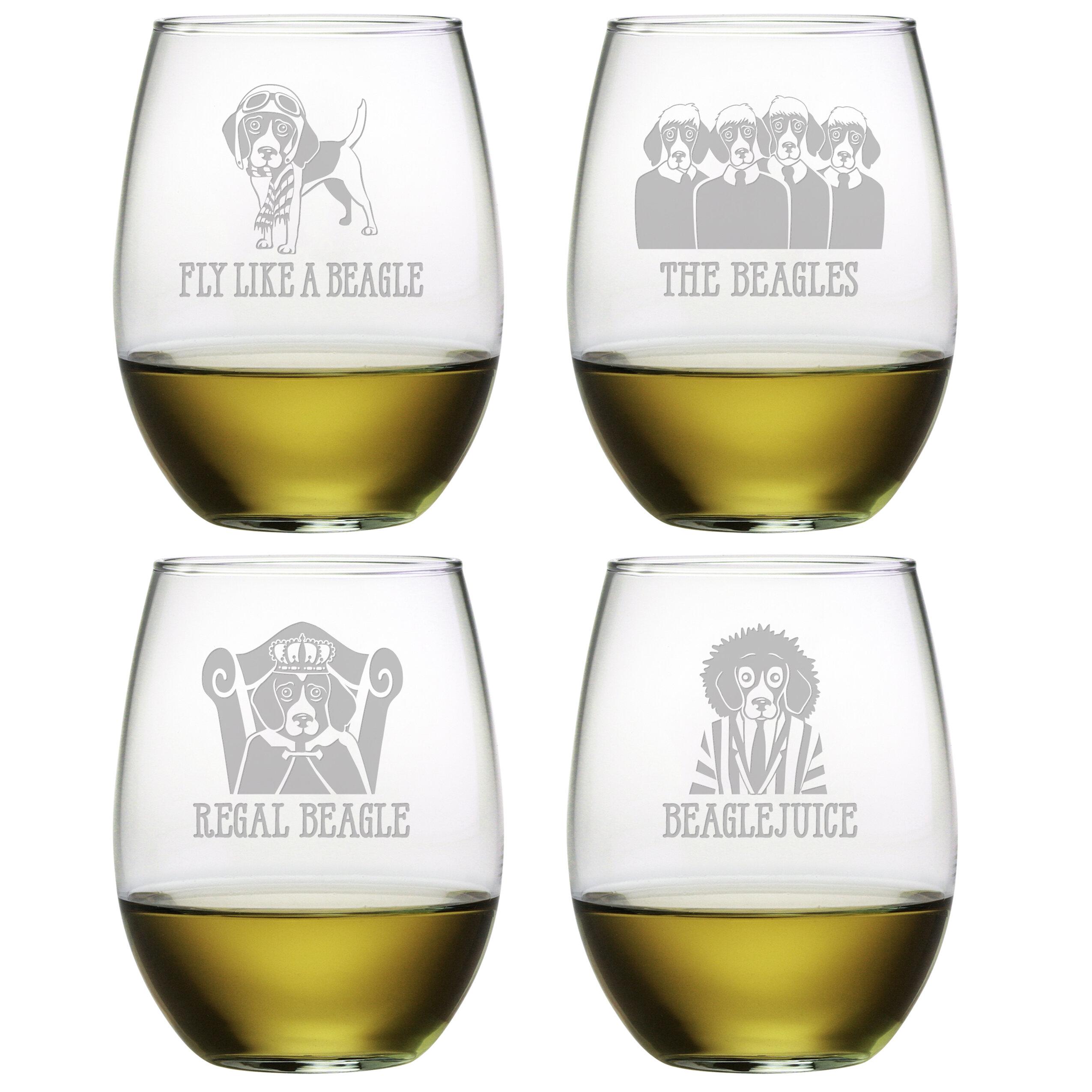 Tucker Murphy Pet Poulos Beagle 4 Piece 21 Oz Stemless Wine Glass Set Wayfair