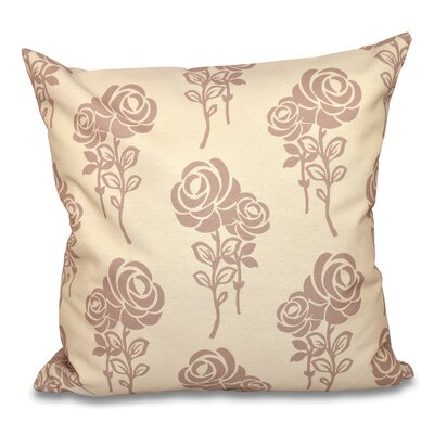 """Auserine Floral Outdoor Throw Pillow Lark Manor Size: 20"""" H x 20"""" W, Color: Taupe"""