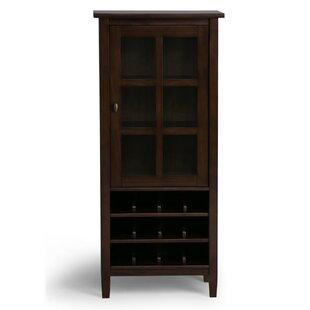 Simpli Home Warm Shaker 12 Bottle Floor Wine Cabinet