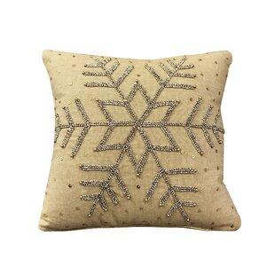 Herr Beaded Snowflake Throw Pillow