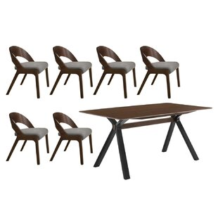 Gravois Runyon 7 Piece Solid Wood Dining Set George Oliver