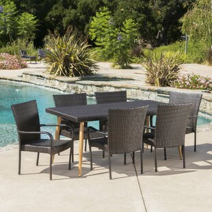 George Oliver Narragansett Outdoor Wicker 7 Piece Dining Set
