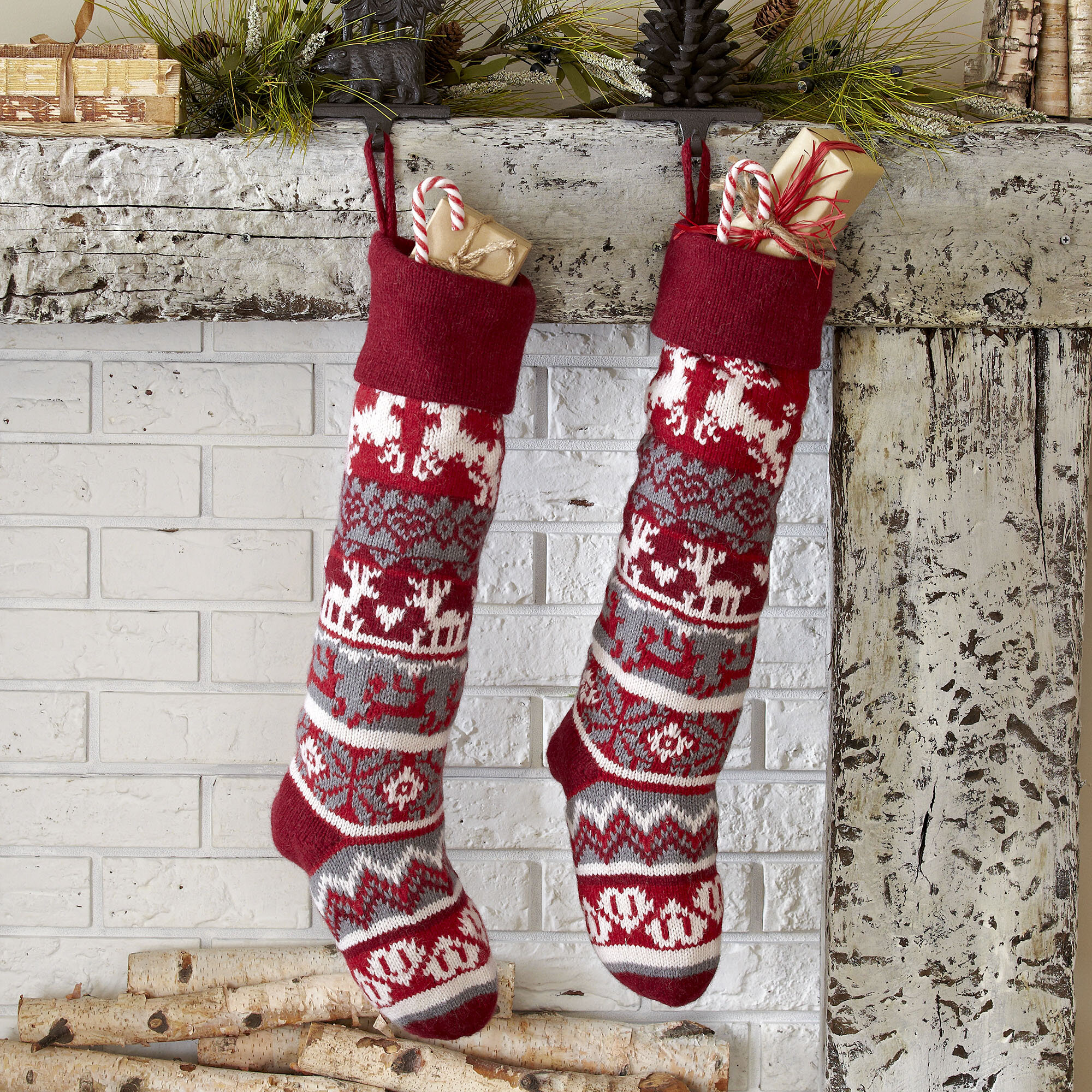 The Holiday Aisle Reindeer Classic Knit Stocking & Reviews | Wayfair