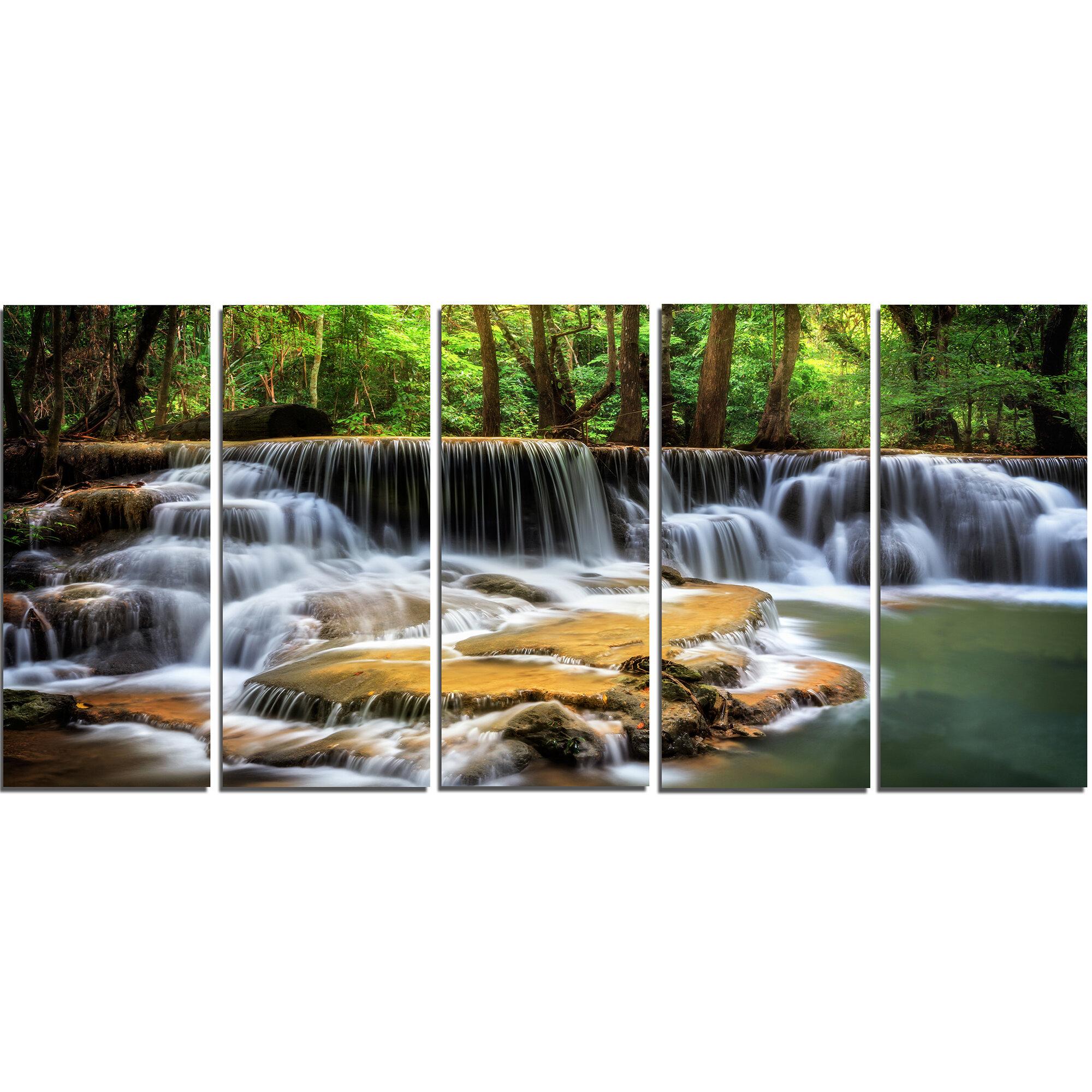 Designart Level Six Of Huai Mae Kamin Waterfall 5 Piece Wall Art On Wrapped Canvas Set Wayfair