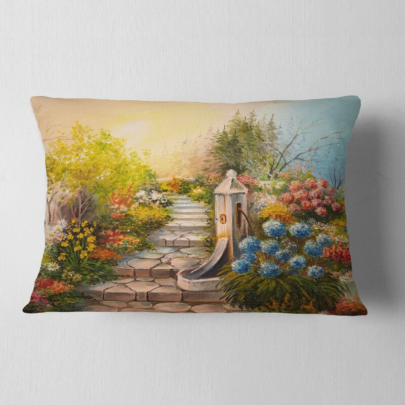 East Urban Home Landscape Stone Stairs In Forest Lumbar Pillow Wayfair