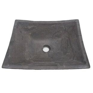 Eden Bath Zen Deep Honed Limestone Rectangular Vessel Bathroom Sink