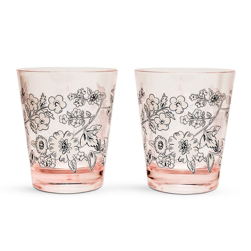 Coral Floral 14 oz. Every Day Glasses